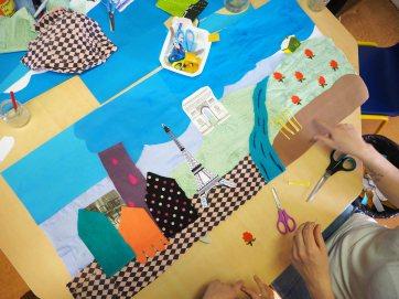 Fabrication du décor en tissu pour le film d'animation