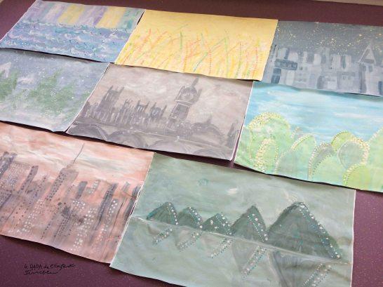 9 ensemble fresques sur le thème du voyage