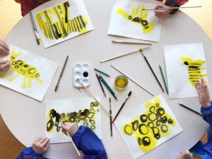 """""""Animaux du monde"""" projet d'école - atelier préparatif encre"""