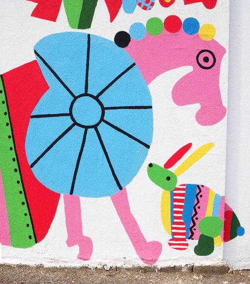"""Fresque """"Animaux du monde"""", projet d'école"""